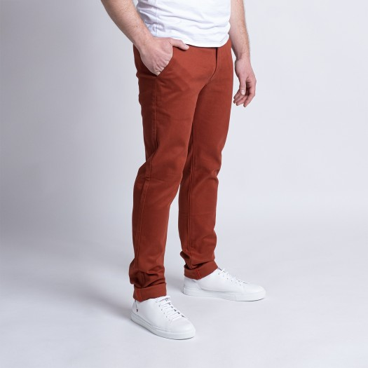 163 Chino Ajuste FlexDenim Terracotta Côté