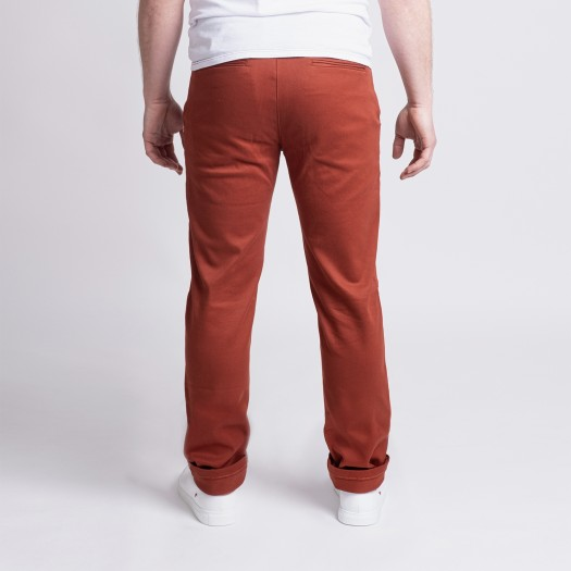 163 Chino Ajuste FlexDenim Terracotta Dos
